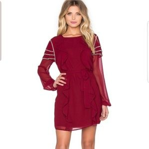 Tularosa Wine Ruffle Mini Dress